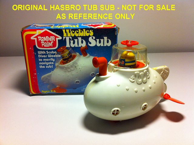 Details About Vintage Argentine Weebles Tub Sub Diver Weeble Submarine Top Toys 3726